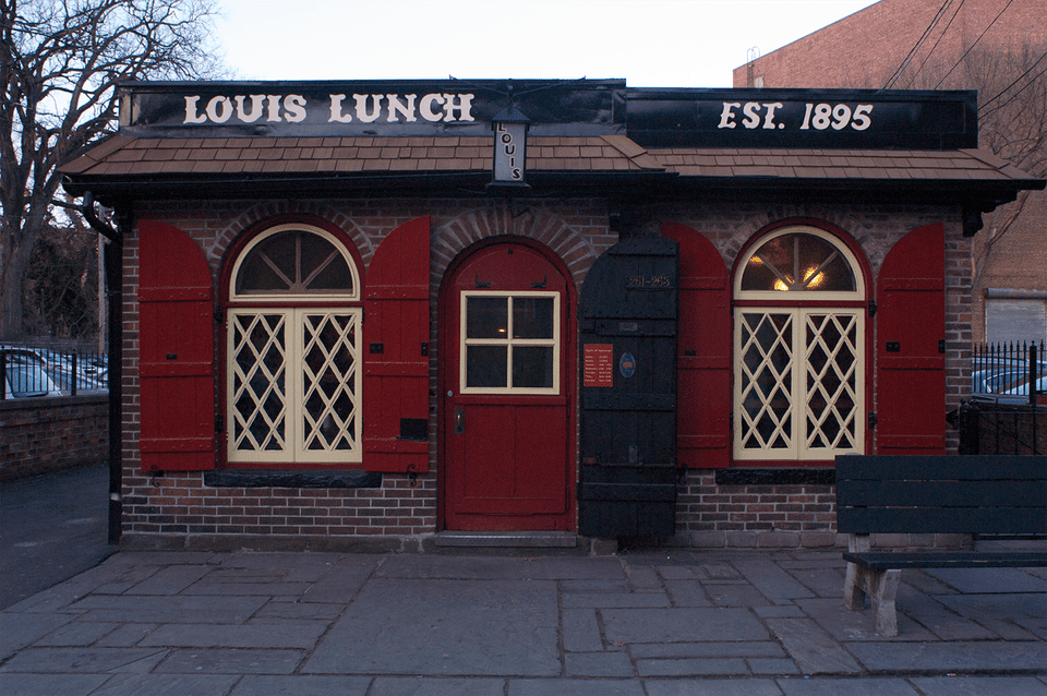 A photo of Louis' Lunch in New Haven Connecticut.