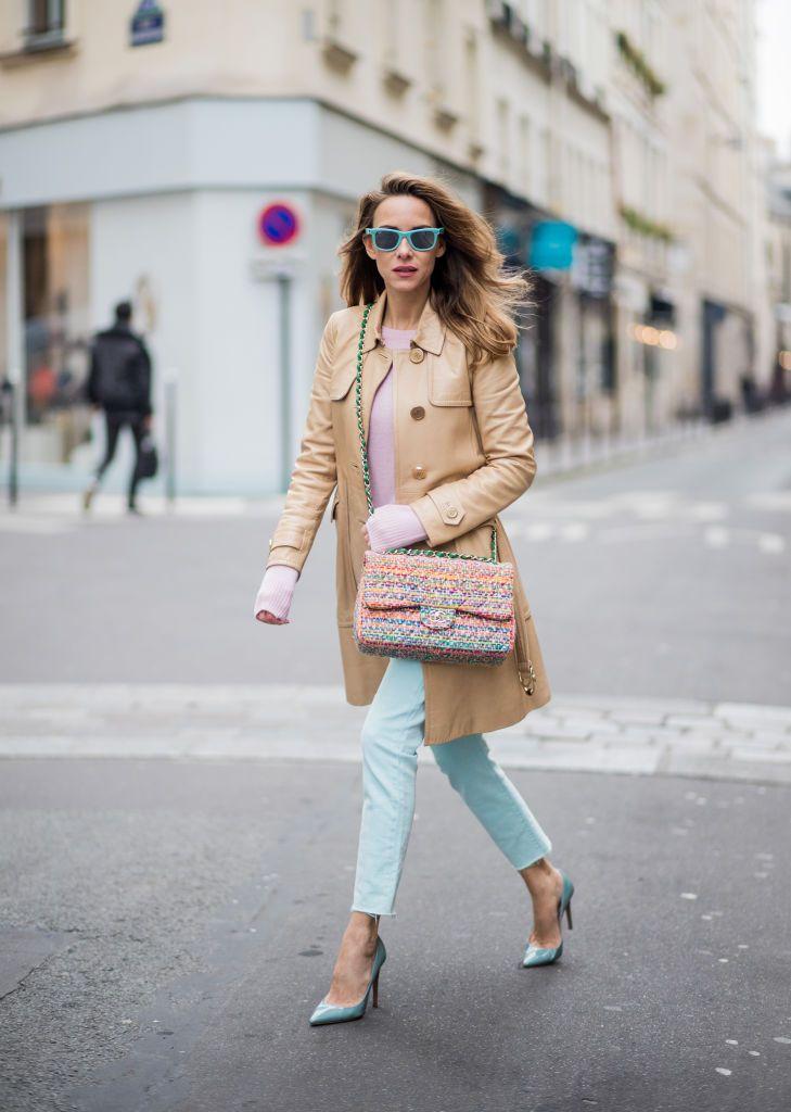 Street style mint green jeans