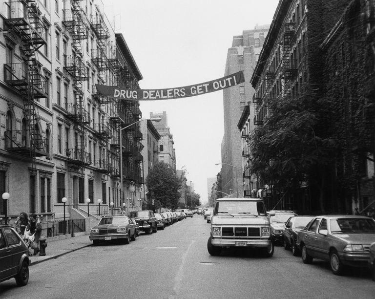 "Banner across US city street reads ""Drug Dealers Get Out"""