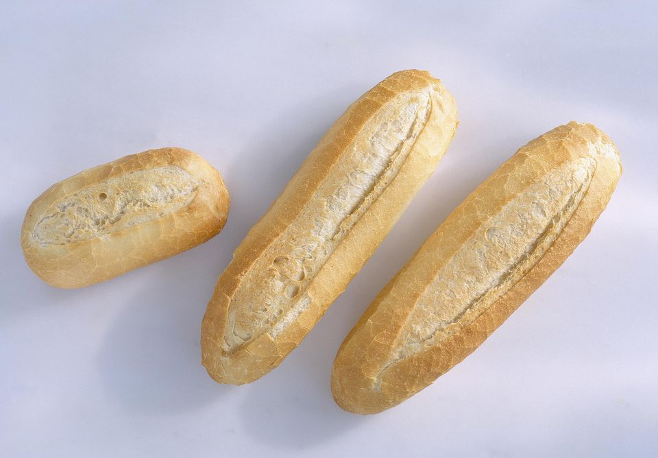 Three white baguette rolls