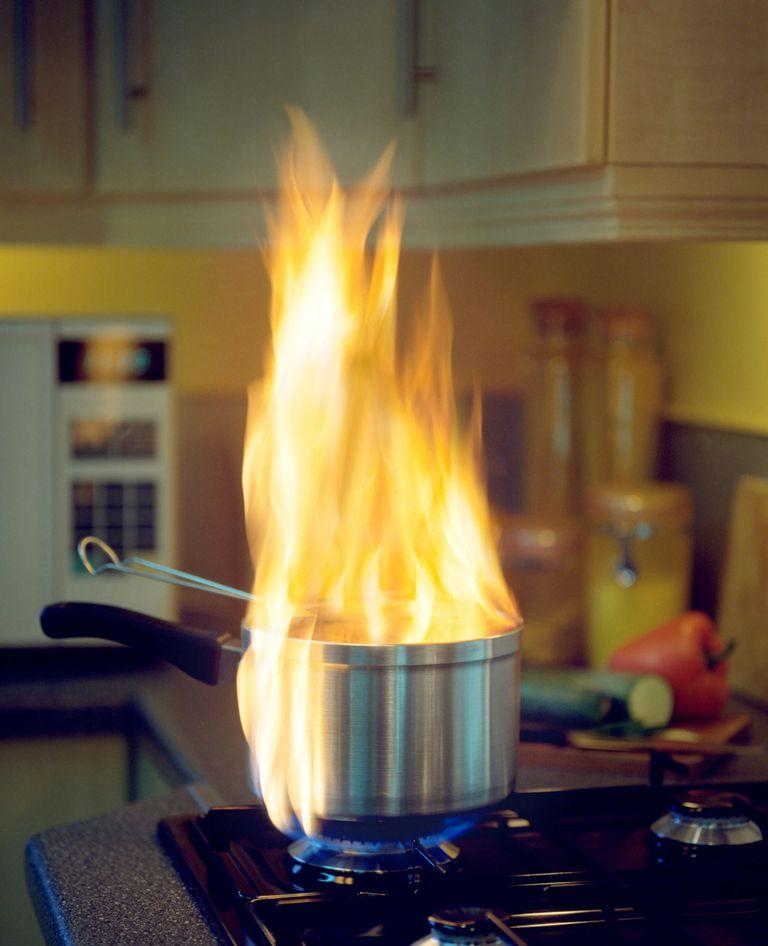 Flaming saucepan on gas hob