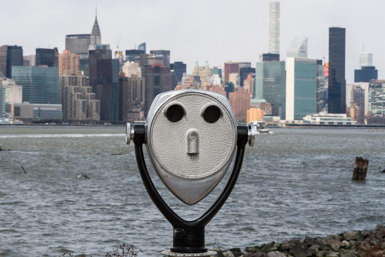 New York Telescope Over Hudson River