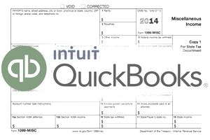 1099 form and Intuit QuickBooks logo