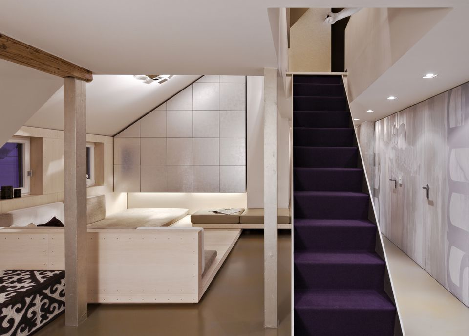 Purple Stair Carpet In Ultra Modern Home