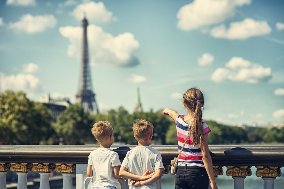 Kid tourist visiting Paris