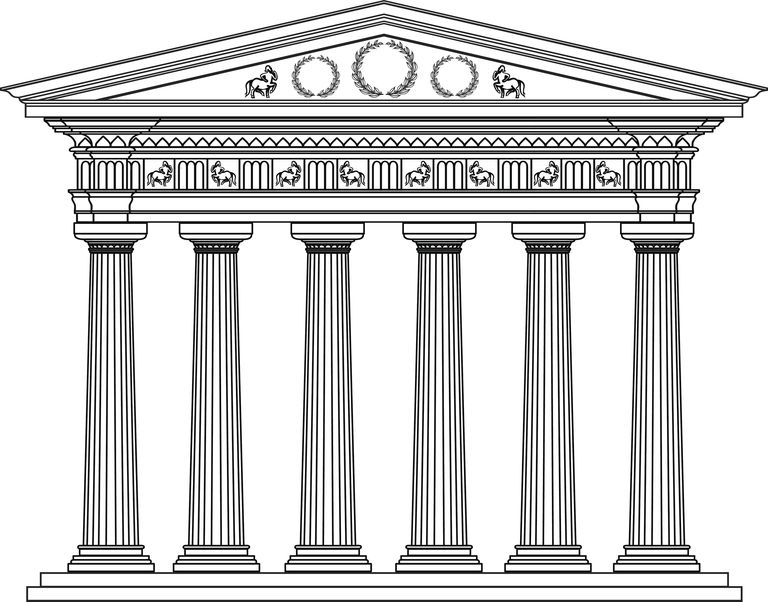 Ancient Greek temple done with Doric columns, in a black and white technique.