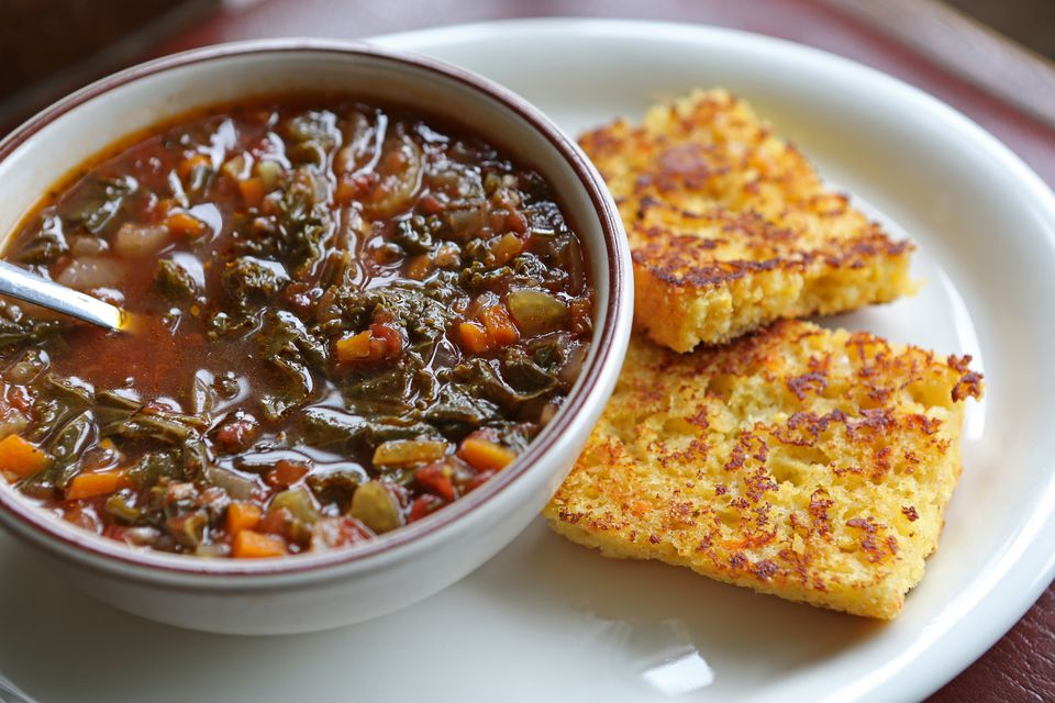 Bowl of Vegetarian Soup and Cornbread