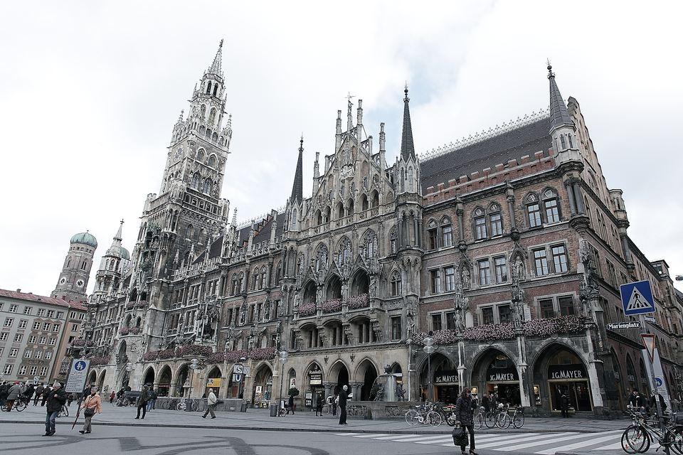 Marienplatz in the city centre of Munich, Germany.