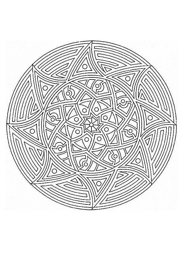 a sun mandala coloring sheet - Advanced Mandala Coloring Pages