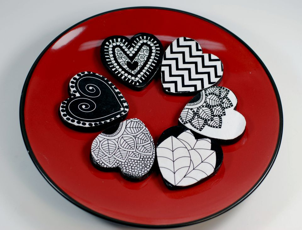 paper clay hearts on a plate