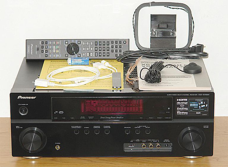 Pioneer VSX-1019AH-K 7.1 Channel Home Theater Receiver - Front View With Accesssories