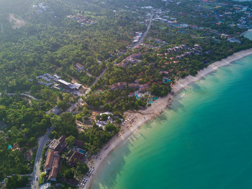 Aerial view of beach and resort