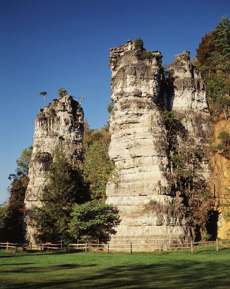 View of Natural Chimneys in Regional Park, Mount Solon, Virginia,
