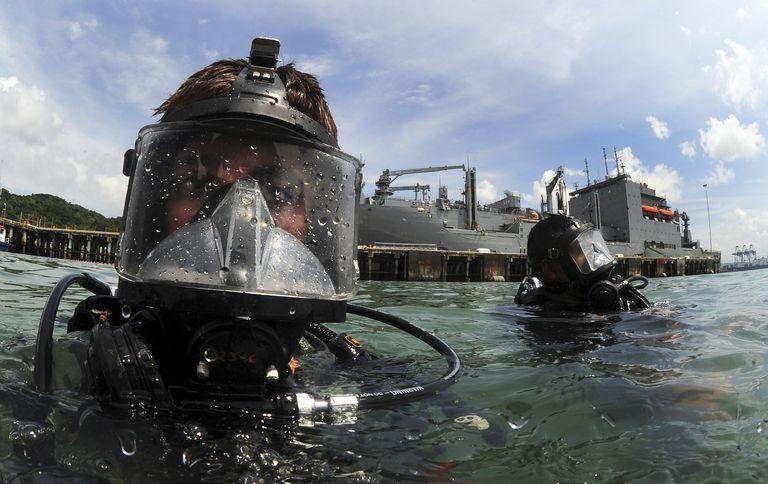 Navy diver wearing a MK-20 diving mask.
