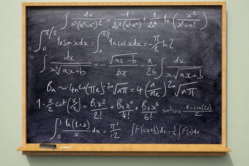Formulas on a blackboard