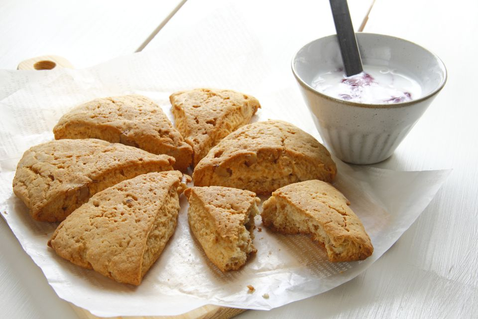 Scones with a dish of yoghurt