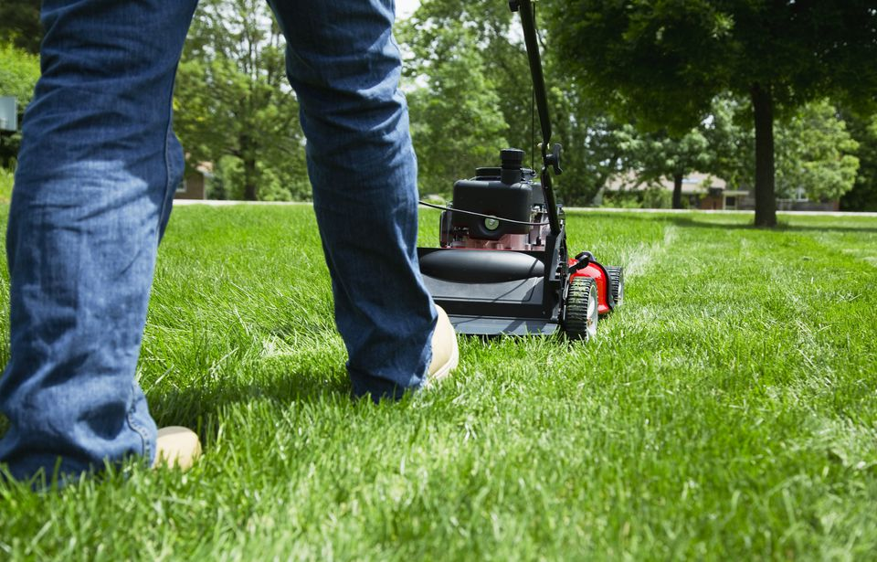 Person with blue jeans pushing a lawn mower.