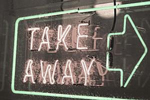 "neon signage that says ""take away"""