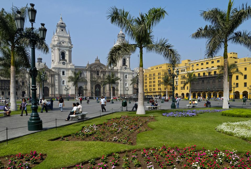 PLAZA MAYOR with cathedral and historical buildings, Lima, PERU