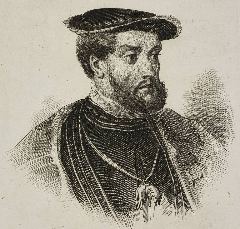 Portrait of Charles V (1500-1558), King of Spain and Holy Roman Emperor, engraving by Lemaitre, Vernier and Masson from Allemagne by Philippe Le Bas (1794-1860)