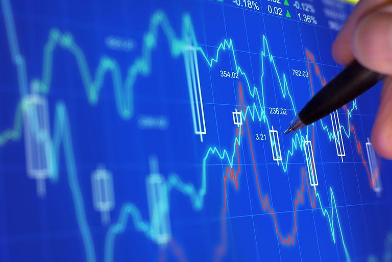 Pen examining stock charts