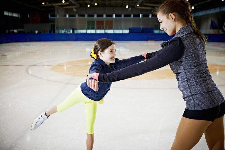 A Young Figure Skater and Her Coach