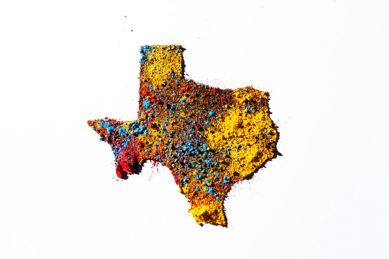 Map of Texas, USA with colored powder.