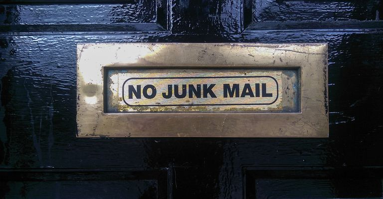 "A mail slot that says ""No Junk Mail"""