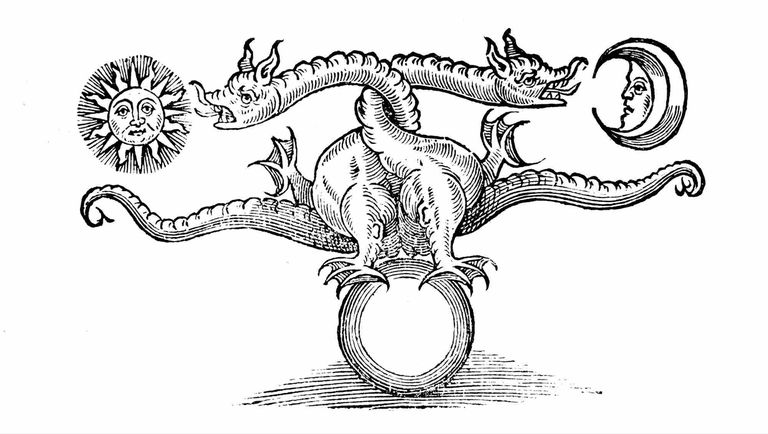 Alchemical symbol representing the transmutation of base metal into silver and gold, 1652.