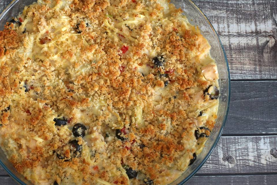 tuna casserole with artichokes and parmesan cheese