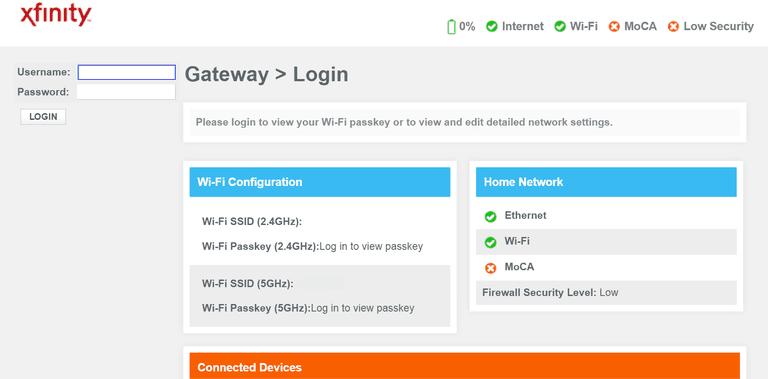 Xfinity Home Gateway Login Page