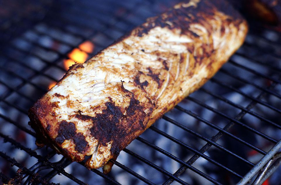 Grilling sea bass