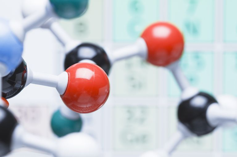 Close up view of ball and stick molecular model