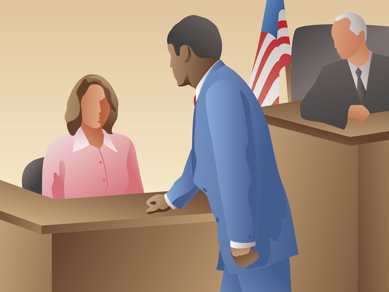 Lawyer questioning witness in a courtroom