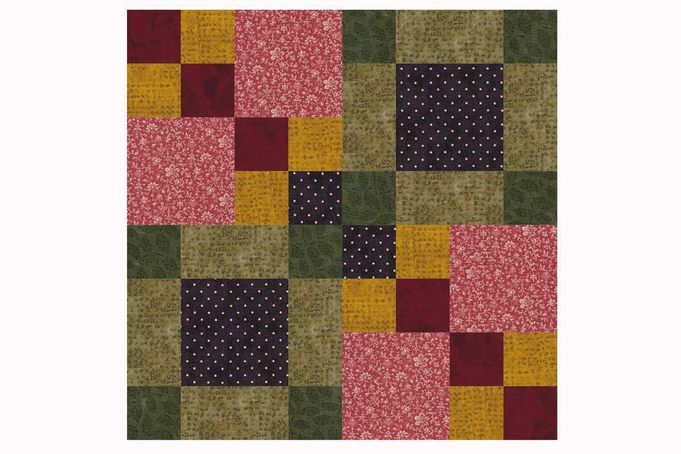 Four Square Patchwork Quilt Block Pattern