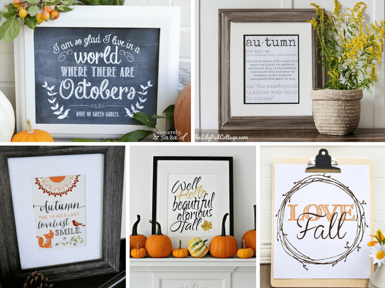 A collage of free, fall printables.