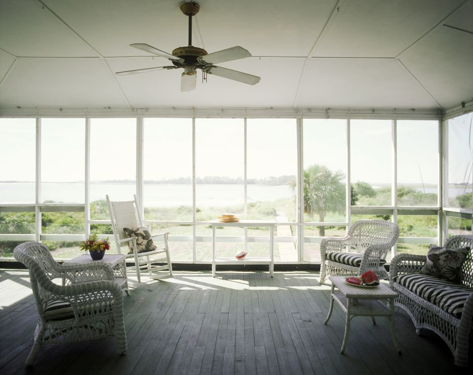 Wicker Furniture in Screened Porch