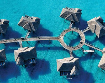 Aerial View of the Four Seasons Resort Bora Bora Overwater Bungalows