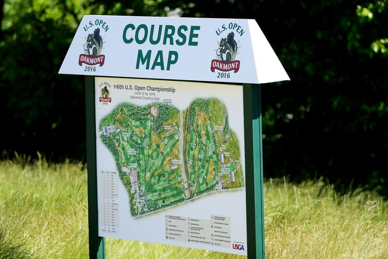Map showing Oakmont Country Club's golf course and the order of holes played during stipulated rounds at a US Open