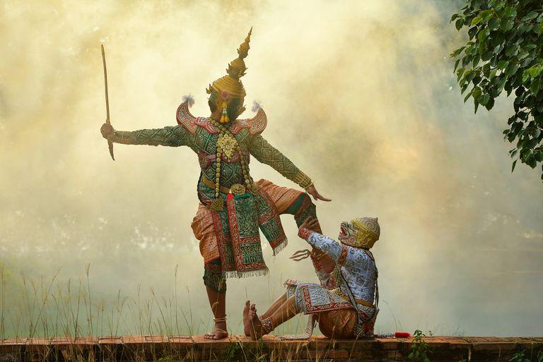 Two masked dancers performing Thai Khon pantomime, Thailand