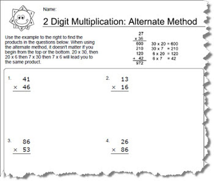 Worksheets Using an Alternative Method for 2 Digit Multiplication – Multiplication Worksheets 2 Digit by 1 Digit