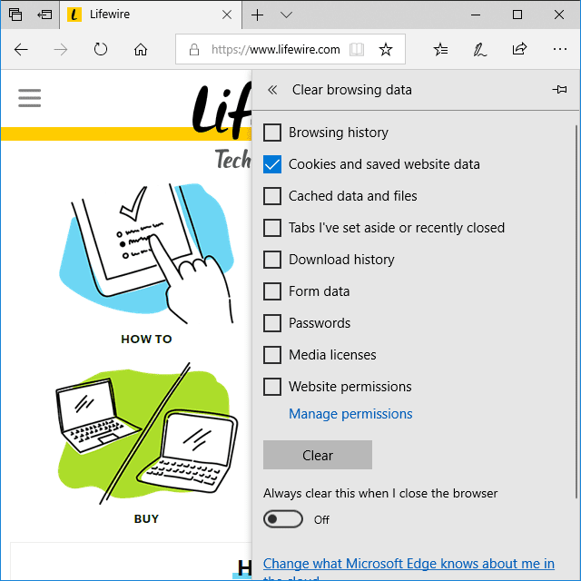 Screenshot showing how to clear cookies in the Edge browser