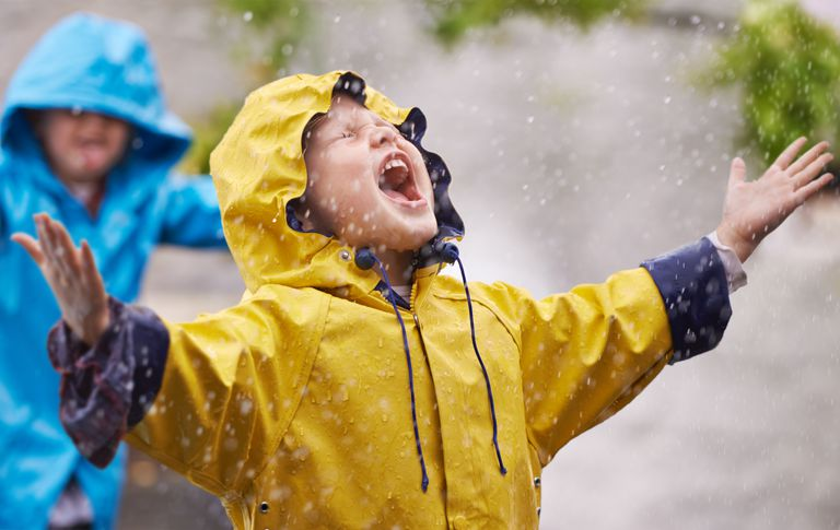 Rainy day outdoor activities - kids in raincoats