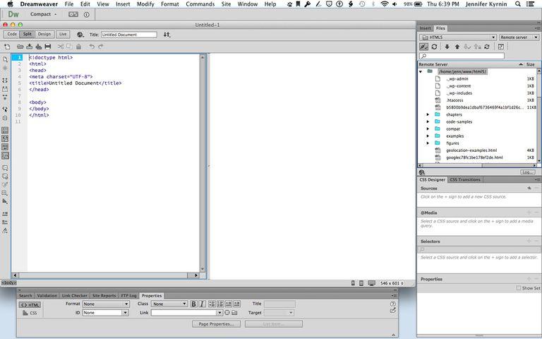 Dreamweaver code and design view