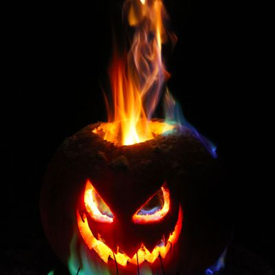 Rainbow Fire Halloween Jack-o-Lantern
