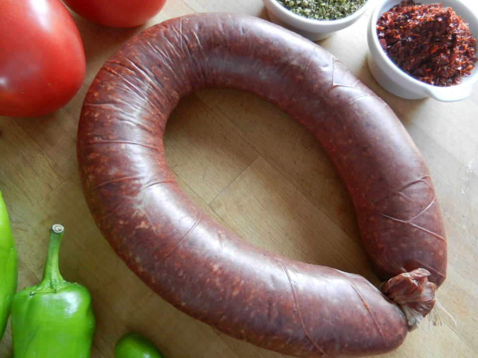 Classic Turkish beef 'sucuk' in a 'kangal,' or ring shape.