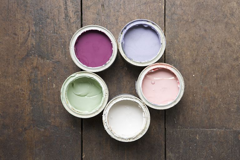 Pots of coloured paint
