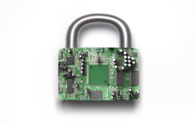 Cyber security padlock on white background