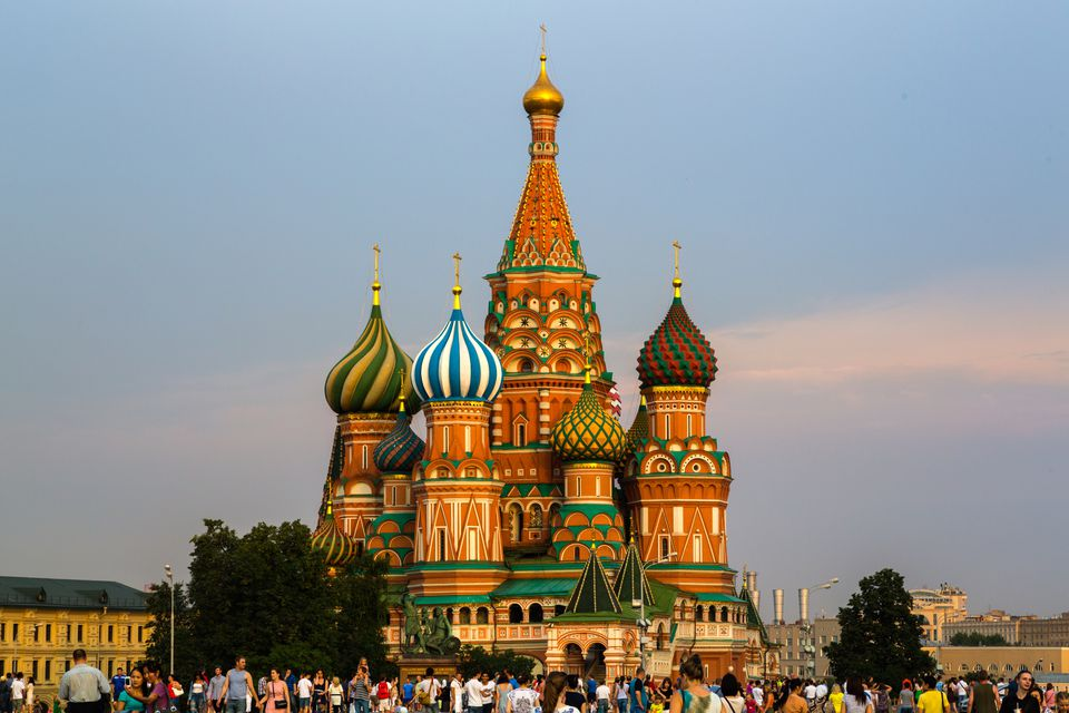 Colorful onion domes atop St. Basil's Cathedral in Red Square, Moscow
