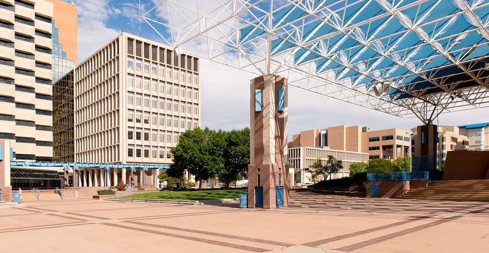 A view of Albuquerque, New Mexicos downtown Civic Plaza on September 02, 2013